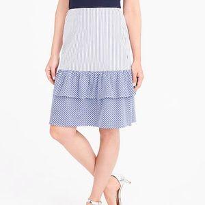 J. Crew Factory Stripe Tiered Ruffle Skirt